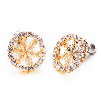 Earrings - jewelry golden snowflake with clear crystal cz stud earrings Image.