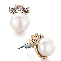 Earrings - golden crown light peach crystal cz white pearl stud earrings Image.
