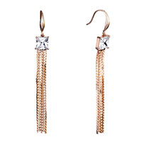 Earrings - golden square april clear crystal chain tassel dangle earrings Image.