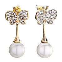 Earrings - golden butterfly april clear crystal dangle white pearl stud earring Image.