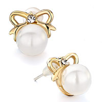 Earrings - classic golden bowknot clear cz crystal white pearl stud earrings Image.