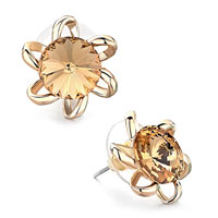 Earrings - golden flower light colorado topaz crystal round stud earrings Image.
