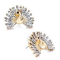 Earrings - peacock april birthstone clear crystal black eye stud earrings Image.