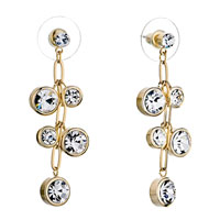 Earrings - golden chain dangle round april birthstone clear crystal cz earrings Image.