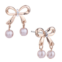 Earrings - golden bowknot clear crystal dangle light pink pearls stud earrings Image.