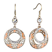 Earrings - golden round clear crystal circles salmon drip gum fish hook earring Image.