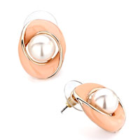 Earrings - simple oval salmon drip gum white pearl stud earrings for women gift Image.
