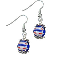 Murano Glass Jewelry - round blue red millefiori dangle fish hook earrings silver plated Image.