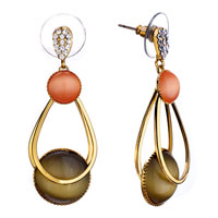 Earrings - elegant orange ring brown glass earrings gift Image.