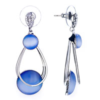 New Year Deals - beautiful blue glass anf ring dangle earrings fashion jewelry december Image.
