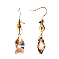 Earrings - elegant topaz fish crystal dangle fish hook earrings gift jewelry fashion november Image.