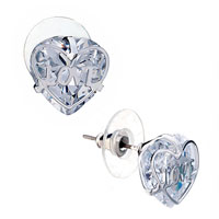 Earrings - white heart love stud earrings Image.