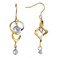 Earrings - elegant golden dangle white crystal fish hook earrings gift Image.