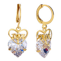 Earrings - heart love dangle crystal earrings jewelry fashion november Image.