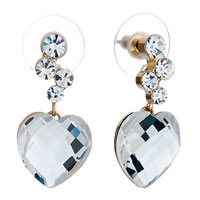 Earrings - little swarovski crystal round dangle april birthstone clear heart earrings Image.