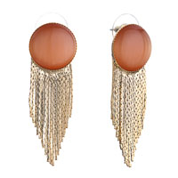 Earrings - round salmon opal golden tassel stud knot earrings Image.