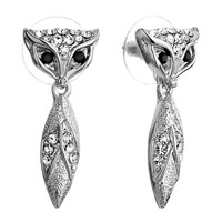 Earrings - cute silver fox black swarovski crystal eyes clear detailed stud dangle earrings Image.