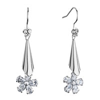 Earrings - silver trumpet dangle april birthstone clear swarovski crystal flower fish hook earrings Image.