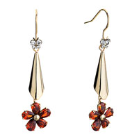 Earrings - golden trumpet dangle indian red rhinestone swarovski crystal flower fish hook earrings Image.