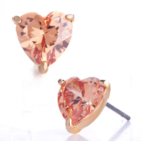 Earrings - stunning orange pink crystal heart stud fancy earrings golden tone Image.