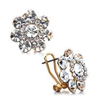 Earrings - golden flower april birthstone clear swarovski crystal little round stud earrings Image.