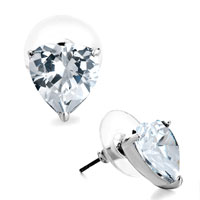 Earrings - silver april birthstone clear swarovski crystal heart stud earrings Image.