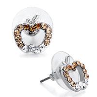 Earrings - silver apple clear topaz smoked rhinestone swarovski crystal stud earrings Image.