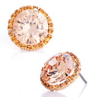 Earrings - golden metal november birthstone topaz swarovski crystal round stud earrings Image.