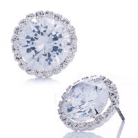 Earrings - metal clear detailed swarovski crystal april birthstone round stud earrings Image.