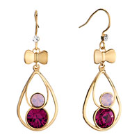 Earrings - golden bowtie dangle drop rose alabaster fuchsia rhinestone swarovski crystal round fish hook earrings Image.