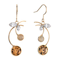Earrings - cherry white opal light colorado topaz rhinestone swarovski crystal round dangle fish hook earrings Image.