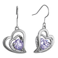 Earrings - metal heart clear swarovski crystal& light tanzanite rhinestone dangle fish hook earrings Image.