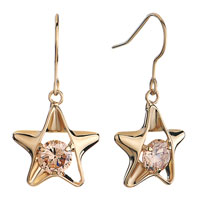 Earrings - golden star light peach rhinestone swarovski crystal round dangle fish hook earrings Image.