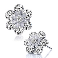 Earrings - flower april birthstone clear swarovski crystal little round stud earrings Image.