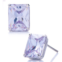 Earrings - beautiful light tanzanite rhinestone swarovski crystal rectangle stud earrings Image.