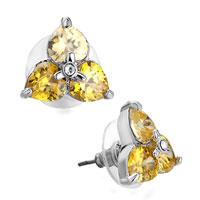 Earrings - clover triple november birthstone light toaz swarovski crystal heart stud earrings Image.