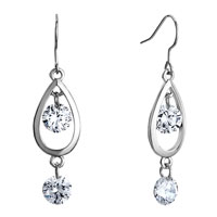 Earrings - sliver drop dangle double april birthstone clear swarovski crystal round fish hook earrings Image.