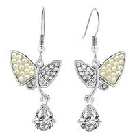 Earrings - freshwater cultured pearl butterfly dangle clear drop crystal fish hook earrings Image.