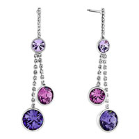 Earrings - round drop amethyst purple rhinestone round crystal dangle earrings Image.