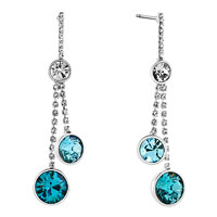 Earrings - round drop blue topaz rhinestone swarovski crystal dangle earrings Image.
