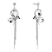Earrings - silver tone clear white drop crystal butterfly dangle tassels earrings Image.