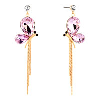 Earrings - gold tone rose pink drop crystal butterfly dangle tassels earrings Image.