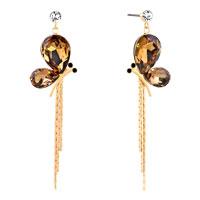 Earrings - gold tone topaz yellow drop crystal butterfly dangle tassels earrings Image.
