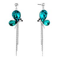 Earrings - gold tone blue topaz drop crystal butterfly dangle tassels earrings Image.