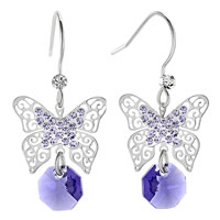 Earrings - filigree butterfly dangle amethyst purple round drop crystal fish hook earrings Image.
