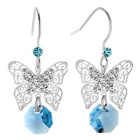 Earrings - filigree butterfly dangle aquamarine blue round drop crystal fish hook earrings Image.