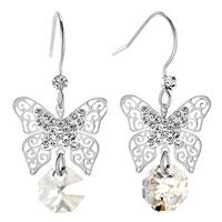 Earrings - filigree butterfly dangle clear white round drop crystal fish hook earrings Image.