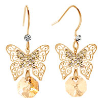 Earrings - gold tone filigree butterfly dangle topaz yellow round drop crystal fish hook earrings Image.