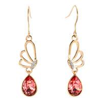Earrings - gold tone filigree butterfly animal dangle clear white drop crystal fish hook earrings Image.
