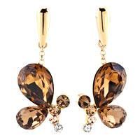 Earrings - topaz drop crystal wings butterfly animal fancy earrings gold tone Image.